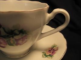 Tea Cup & Saucer - Occupied Japan - Purple & Yellow Pansies - $24.00