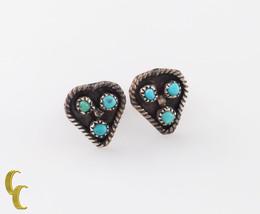 Native Américain .925 Argent Sterling & Turquoise Boucles D'Oreilles - €23,65 EUR