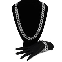 "Hip Hop Men's Silver Tone 30"" Fully Cz Iced Cuban Chain Necklace & Bracelet - $44.54"