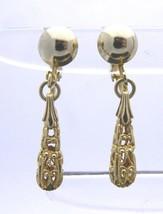 Gold Tone Ornate Open Work Dangle Clip-On Earrings Vintage - $13.86