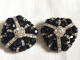 VTG large black glass faceted beads Clear rhinestones cluster clip earrings - $28.51