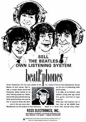Primary image for 1966 The Beatles - Koss Headphones - Beatlephones Promotional Advertising Poster