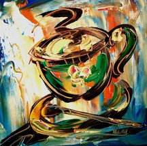 COFFEE    ART   LARGE ORIGINAL OIL PAINTINGS SIGNED 4DFRTH - $98.00
