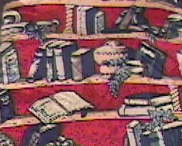 Museum Artifacts Neck Tie The Library Silk Hand Made Books and Shelving On Reds