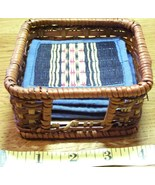 Handwoven Small Basket w/Six Woven Drink Coasters - $10.80