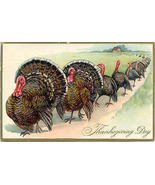 A Thanksgiving Turkey Parade 1923 Vintage Post Card - $6.00