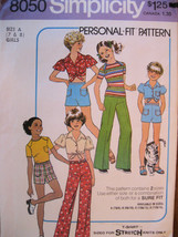 Vintage Sewing Pattern 70s Unused Girls 7 and 8 Top Pants S8 - $8.95