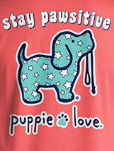 Puppie Love Rescue Dog Men Women Short Sleeve Graphic T-Shirt, Pawsitive Pup image 2