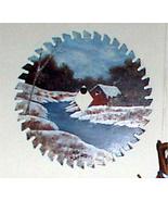 Hand Painted Saw Blade Winter Creek Scene Custom Order Wall Decor - $35.00