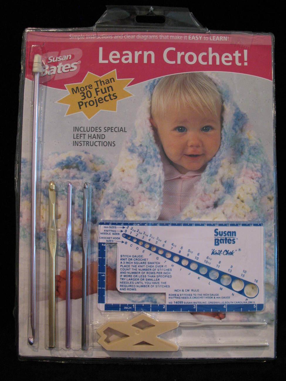 Susan Bates Learn Crochet 30 Patterns Hooks Gauge etc - $14.99