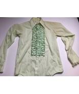 Vintage Yellow After Six Ruffle Tuxedo ruffled 1970's retro Shirt (BL ag... - $28.45