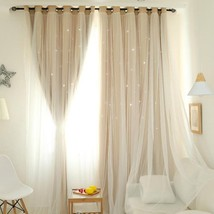 CURTIANS Style Ivory Hollowed Out Star Shading Window Blackout Curtain D... - $32.76