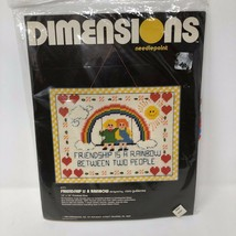 """VTG Dimensions 13"""" x 10"""" Friendship Is A Rainbow Needlepoint Embroidery #2171 - $29.44"""