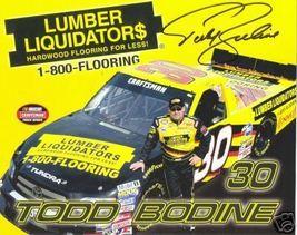 2006 TODD BODINE #30 LUMBER LIQUIDATOR$ NASCAR POSTCARD SIGNED - $10.75