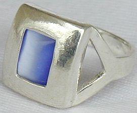 Blue cat eye ring