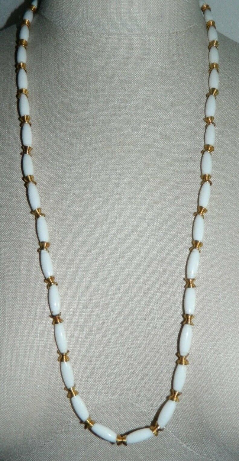 Primary image for VTG CROWN TRIFARI White Lucite Plastic Gold Coil Beaded Necklace 30""