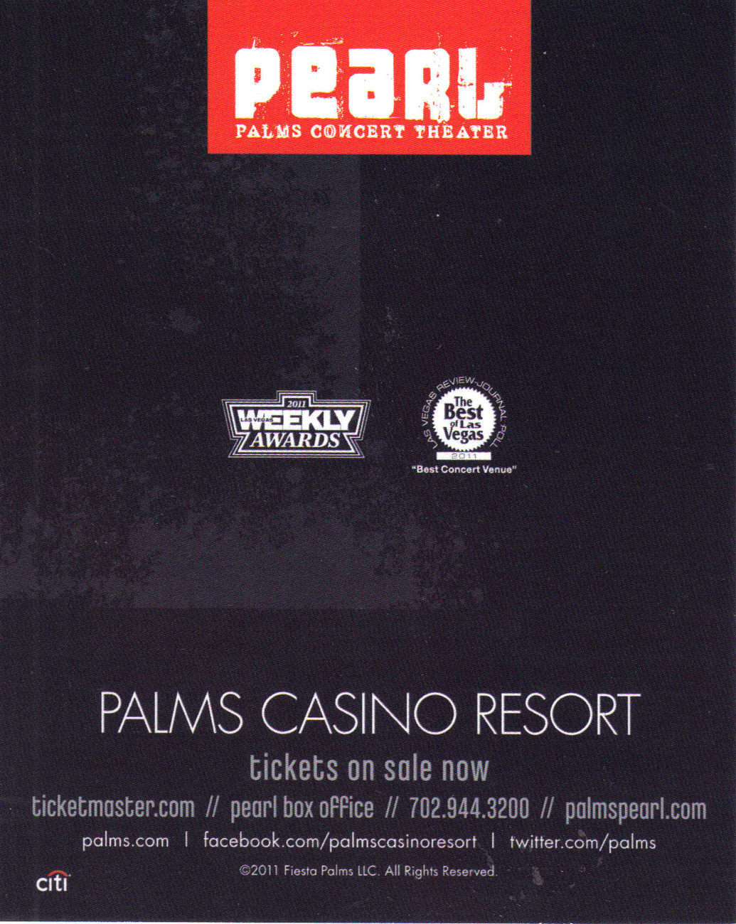 YOUNG JEEZY TM103 TOUR @ The PEARL - PALMS  Vegas Promo Card