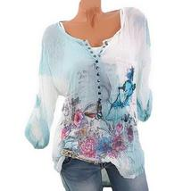Jeweled Collar Butterfly Print Blouse - $16.30