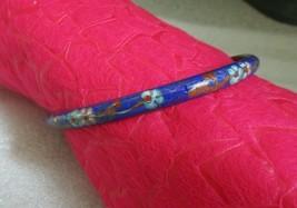 Vintage BANGLE Blue Enamel Copper Chinese CLOISONNE BRACELET Blossom & B... - $14.80