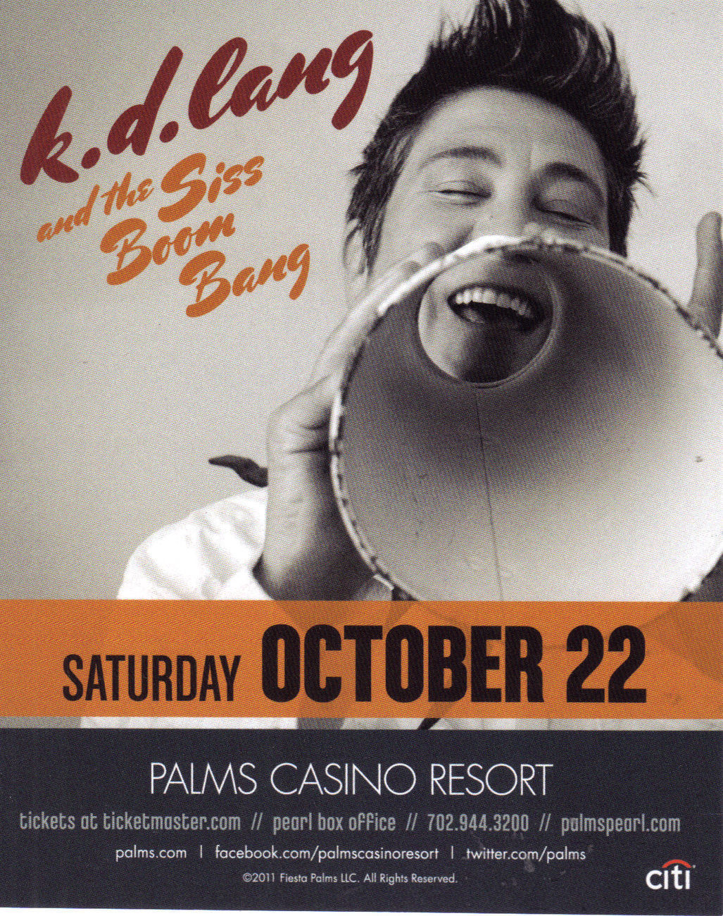 K.D. LANG & The SIS BOOM BANG / ERASURE TOUR @ The PEARL-PALMS  Vegas Promo Card