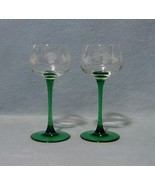 Cris D'arques Durand 2 Etched Emerald Rhine Wine Glasses - $14.99
