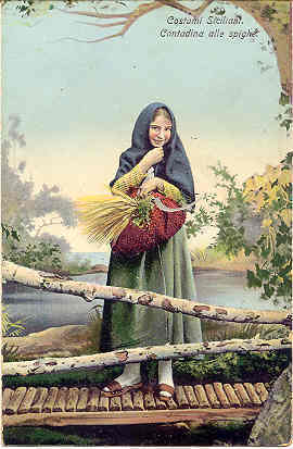 Siciliani Beauty Beautiful Woman Vintage Post Card