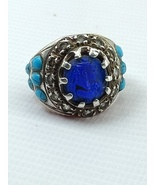 written Sterling Silver Ring with Turquoise stones - Sterling Silver Rin... - $555.00