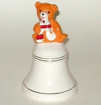 Christmas Hand Painted Ceramic Bright Orange Teddy Bear Bell - $5.00