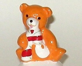 Christmas Hand Painted Ceramic Bright Orange Teddy Bear Bell