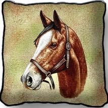 """17"""" Large Thoroughbred HORSE Pillow Cushion Tapestry - $32.50"""