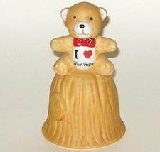 Hand Painted I Love Heart Las Vegas Ceramic Teddy Bear Bell - $5.00
