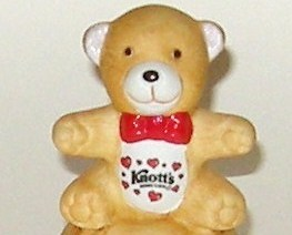 Hand Painted Knotts Berry Farm Ceramic Teddy Bear Bell