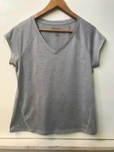 Ideology Women's V-Neck Performance T-Shirt Top Heather Silver Gray M - $9.95