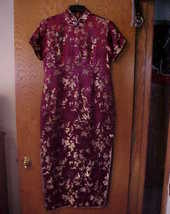 Ladies NWOT Medium Size Oriental Dress Burgundy Wine & Gold - $15.00