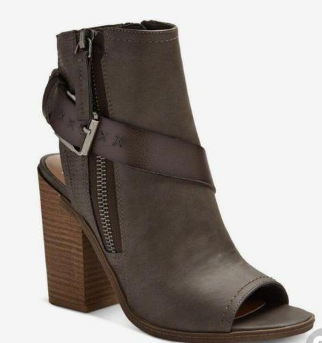 Dolce Vita Teisha Grey Buckle Block Heel Booties Boots NWT