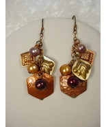Earrings with Old Afghan Metal Jewelry Elements and Freshwat - $35.00
