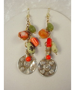 Earrings with Old Afghan Metal Jewelry Elements, Coral and Serpentine - $35.00