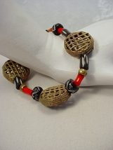 Bracelet with African Brass Disk Beads from Ghana, Coral and Bone - $35.00