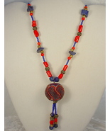 Necklace with Nepalese Beaded Ball, Coral and Lapis Lazuli - $150.00