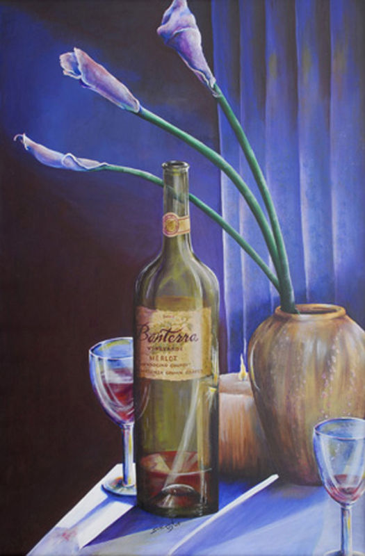 Original 24x36 acrylic award winner painting wine bottle calla lily Merlot for 2