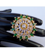 Party Wear Indian American Diamante Fashion Jewelry Emerald Ring Free Si... - $20.43