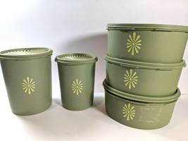 Vintage 5 Tupperware Avocado Green Canisters Round 1204 1205 809 811 EUC - $59.35