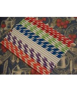 50 green & White Stripe Paper Straws..Party Straws - $11.97