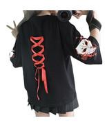 Kawaii Clothing Fox Kitsune Japanese T-Shirt Black Punk Lace Up Back Harajuku - $19.95