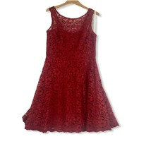 Davids Bridal Fit Flare Dress Red Floral Lace Illusion 12 F18031 Sleeveless - $36.17