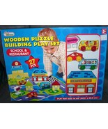 Wooden Puzzle Building Playset SCHOOL & RESTAURANT NEW! 27 p - $29.96
