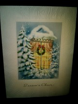 Vintage Christmas Card Window Wreath Lights Snow - $3.00