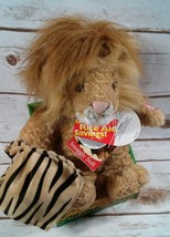 Animated Singing Lion Plush holding lovey blanket sings The lion sleeps ... - $39.12