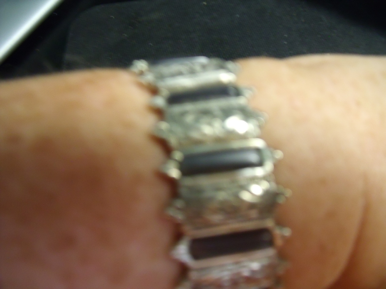Silver and Hematite Like Stretch Bracelet