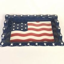 Americana Chip Dip Set USA Flag Serving Tray Stars Stripes 14 X 8.5 Homco NEW image 6